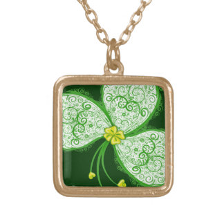 Lucky clover filigree square pendant necklace