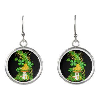 Lucky clover hat earrings