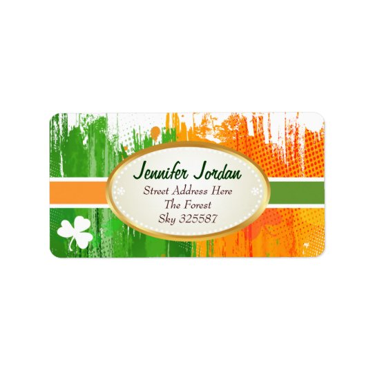 Lucky Clover & Ink Background Label