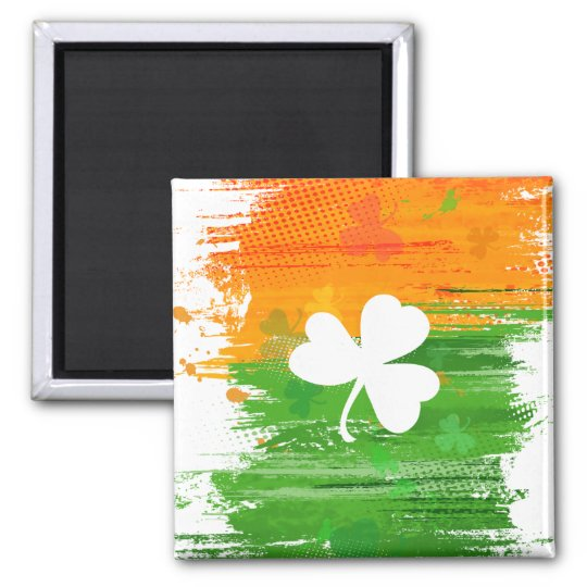 Lucky Clover & Ink Background Square Magnet