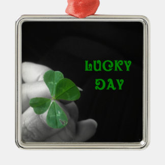 Lucky Day Four Leaf Clover Silver-Colored Square Decoration