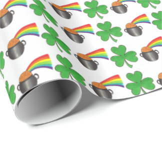 Lucky Day Shamrock Rainbow St. Patrick's Day Wrap Wrapping Paper