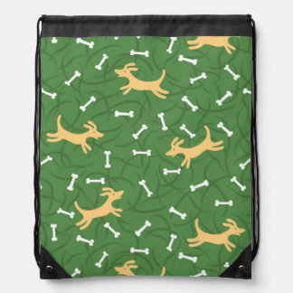 lucky dogs with bones background drawstring bag