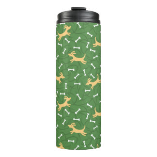 lucky dogs with bones background thermal tumbler