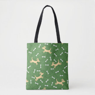 lucky dogs with bones background tote bag