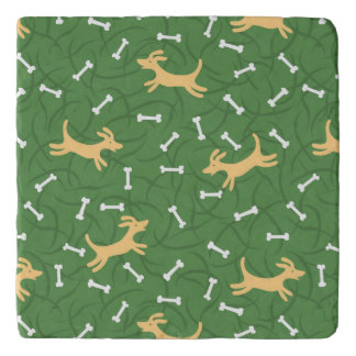 lucky dogs with bones background trivet