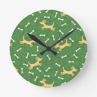 lucky dogs with bones background wallclock