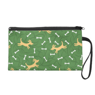 lucky dogs with bones background wristlet purse