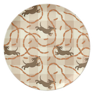 lucky dogs with sausages background dinner plate