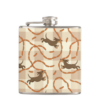lucky dogs with sausages background hip flask