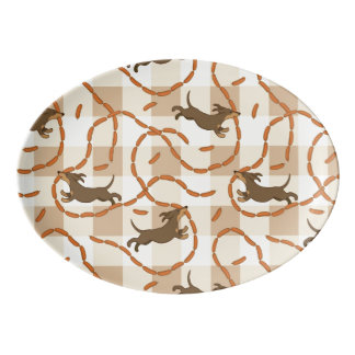 lucky dogs with sausages background porcelain serving platter
