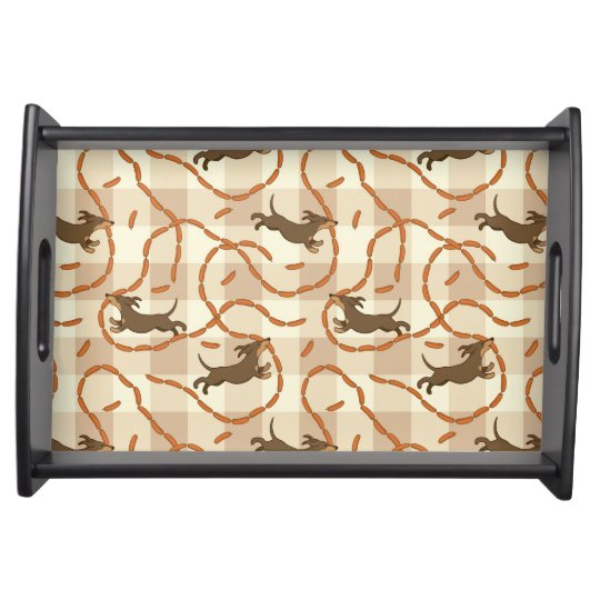 lucky dogs with sausages background serving tray