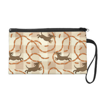 lucky dogs with sausages background wristlet clutch