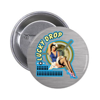 Lucky Drop WWII Nose Art 6 Cm Round Badge