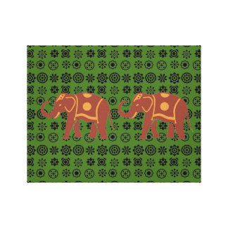 Lucky Elephant couple Stretched Canvas Print