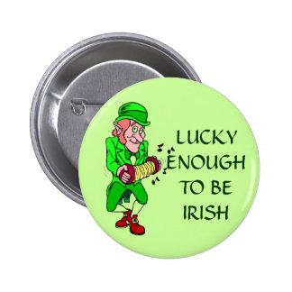 Lucky Enough to be Irish Leprechaun Button