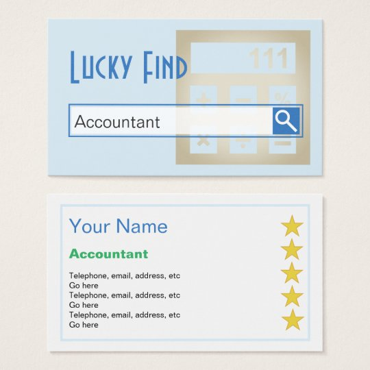 """""""Lucky Find"""" Accountant Business Cards"""