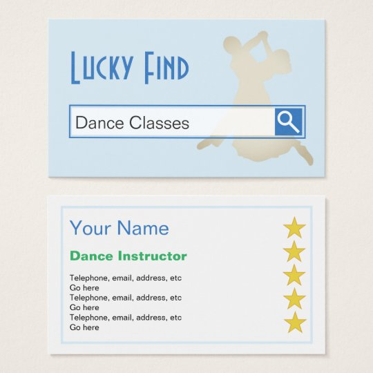 """Lucky Find"" Dance Business Cards"