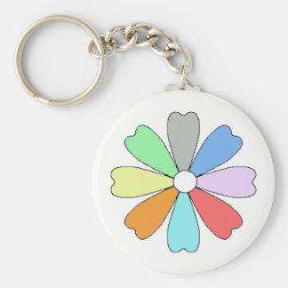 Lucky Flower Button Keychian Basic Round Button Key Ring