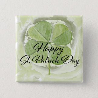 Lucky Four Leaf Clover 15 Cm Square Badge