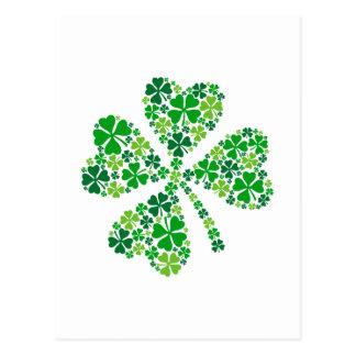 lucky four-leaf clover, green shamrock leaves postcard