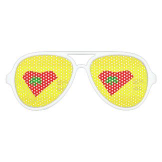 lucky four leaf clover heart aviator sunglasses