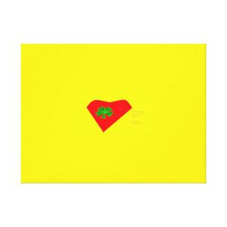 lucky four leaf clover heart canvas print
