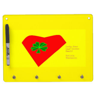 lucky four leaf clover heart dry erase whiteboard