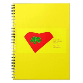 lucky four leaf clover heart notebook
