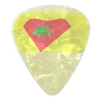 lucky four leaf clover heart pearl celluloid guitar pick