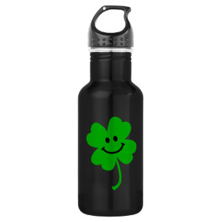 Lucky four leaf clover smiley face 532 ml water bottle