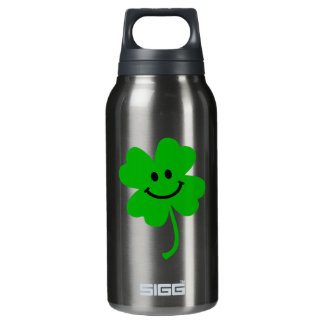 Lucky four leaf clover smiley face insulated water bottle