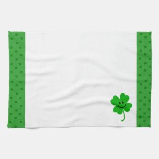Lucky four leaf clover smiley face tea towel