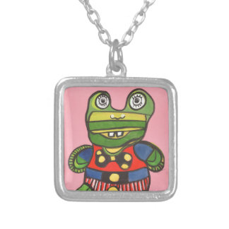 Lucky Frog Square Pendant Necklace
