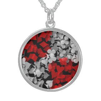 Lucky Gambler Round Pendant Necklace