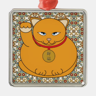 Lucky Gold Cat Silver-Colored Square Decoration