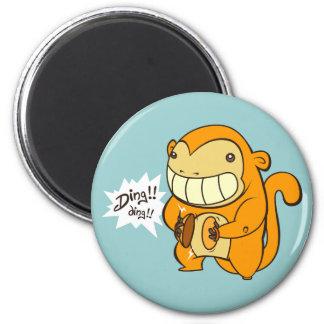 Lucky Gonden Monkey 6 Cm Round Magnet