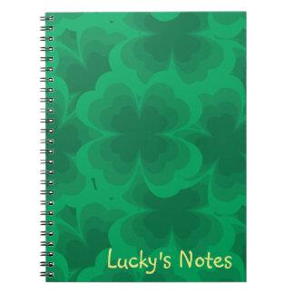 Lucky Green 4-Leaf Clover Irish Spring Clovers Notebook