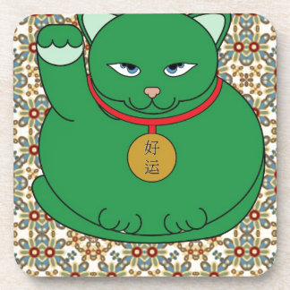 Lucky Green Cat Drink Coasters