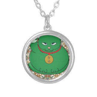 Lucky Green Cat Personalised Necklace