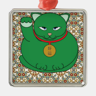 Lucky Green Cat Silver-Colored Square Decoration