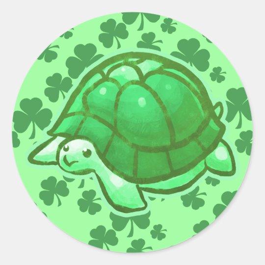 Lucky Green Clover Turtles Classic Round Sticker