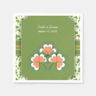 Lucky Green Clover Wedding Paper Napkins