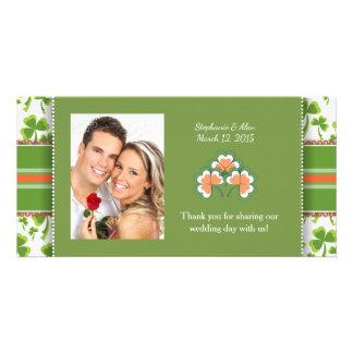 Lucky Green Clover Wedding Thank You Photo Cards