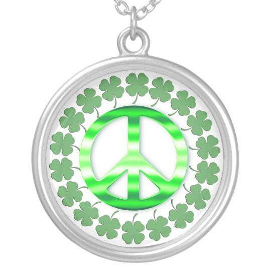 Lucky Green Irish Clover Peace Sign Necklace