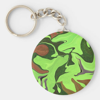 Lucky green key ring abstract art basic round button key ring