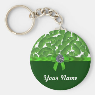 Lucky green shamrock pattern basic round button key ring