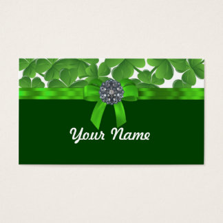 Lucky green shamrock pattern business card