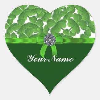 Lucky green shamrock pattern heart sticker