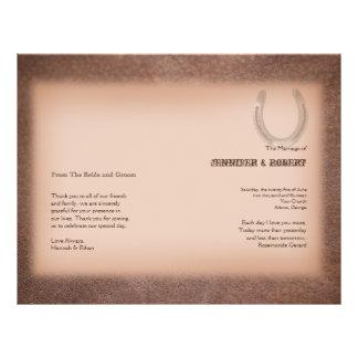 Lucky Horseshoe on Brown Leather Wedding Program Custom Flyer